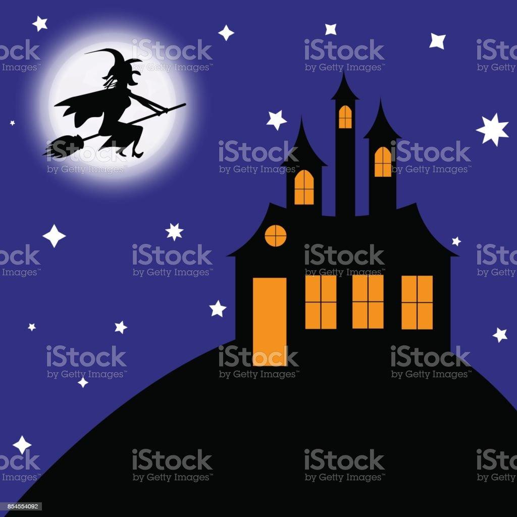 Hexe auf ein Besen fliegt zum Schloss – Vektorgrafik