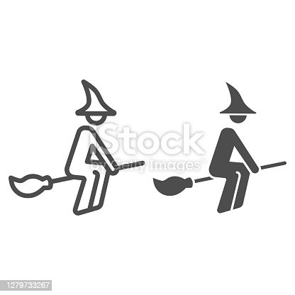 istock Witch on broomstick line and solid icon, Halloween concept, Witch rides broom sign on white background, flying young witch icon in outline style for mobile concept and web design. Vector graphics. 1279733267