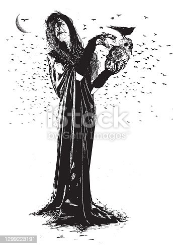 istock Witch, Ravens and skulls 1299223191