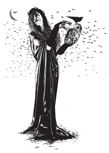 Witch, Ravens and skulls