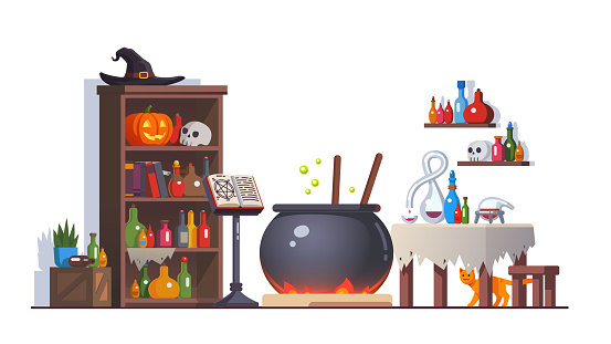 Witch room with boiling poison potion cauldron, cupboard, potion flasks, cats, magic book on stand, retort, table. Magician interior. Halloween clipart. Flat style isolated vector