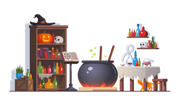 Witch room with boiling poison potion cauldron, cupboard, potion flasks, cats, magic book on stand, retort, table. Magician interior. Halloween clipart. Flat style isolated vector vector art illustration