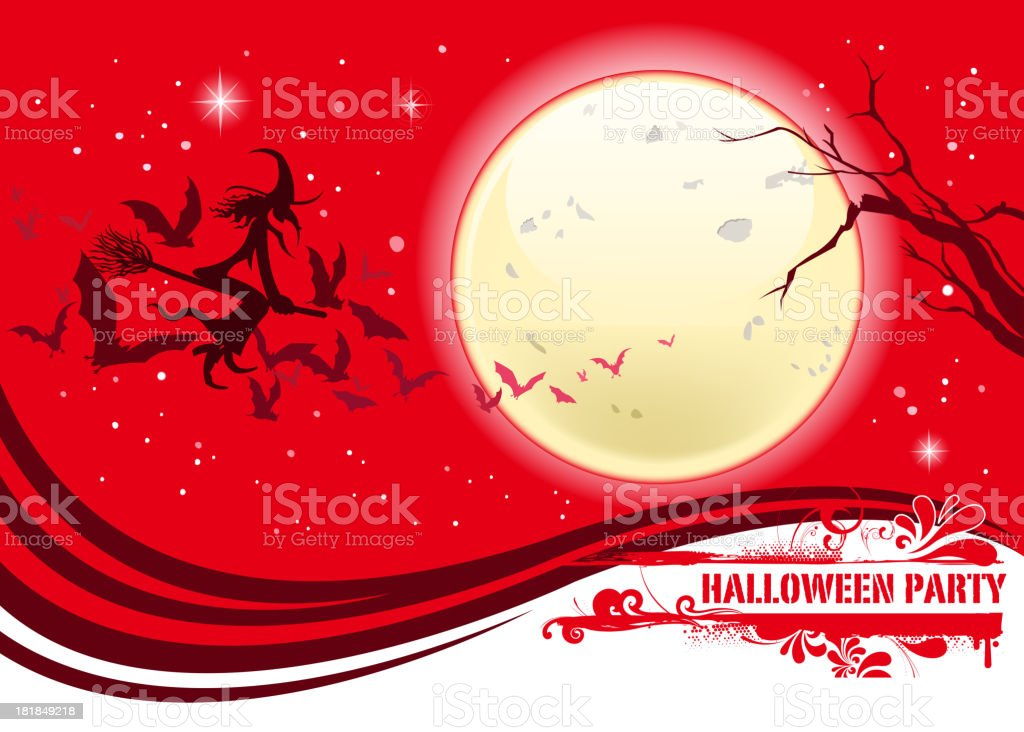 witch silhouette on moon royalty-free stock vector art
