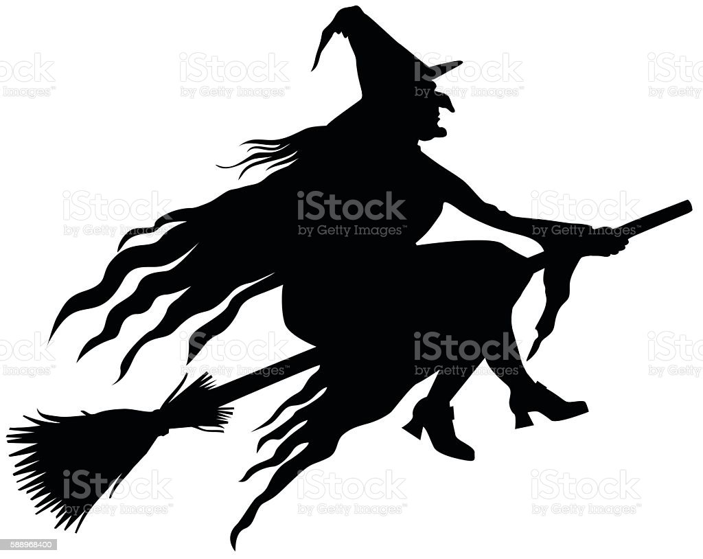 Witch Silhouette vector art illustration