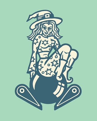 Witch Sitting on a Pinball