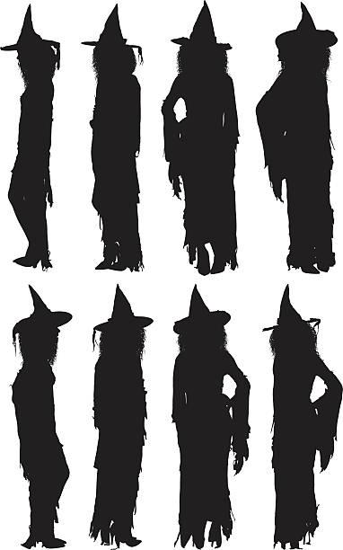 illustrazioni stock, clip art, cartoni animati e icone di tendenza di strega in piedi - ritratto 360 gradi