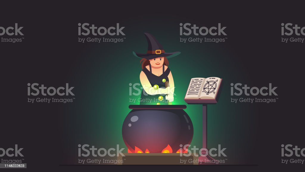 Witch Stirring Poison Brew Potion In Boiling Cauldron On