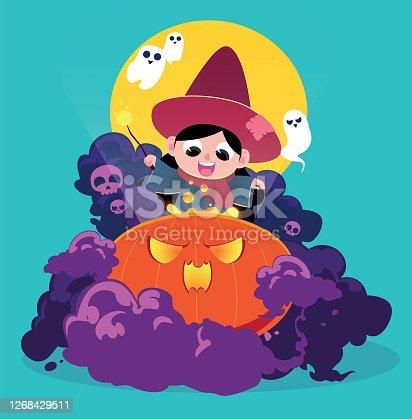 istock Witch up to mischief on Halloween night cartoon illustration 1268429511