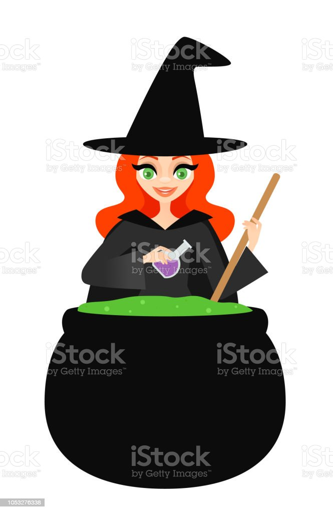 Witch with a bubbling cauldron vector art illustration