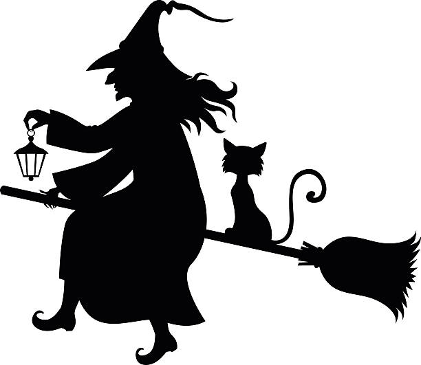 witch broom silhouettes clip art vector images illustrations istock