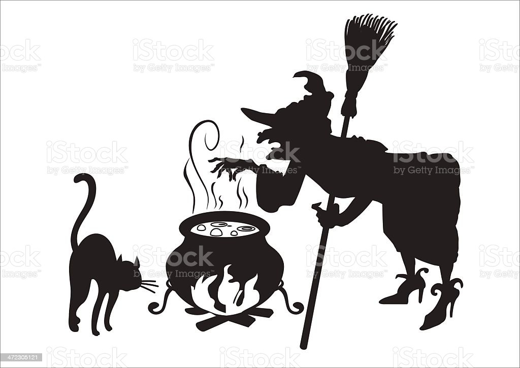 witch with broom royalty-free stock vector art