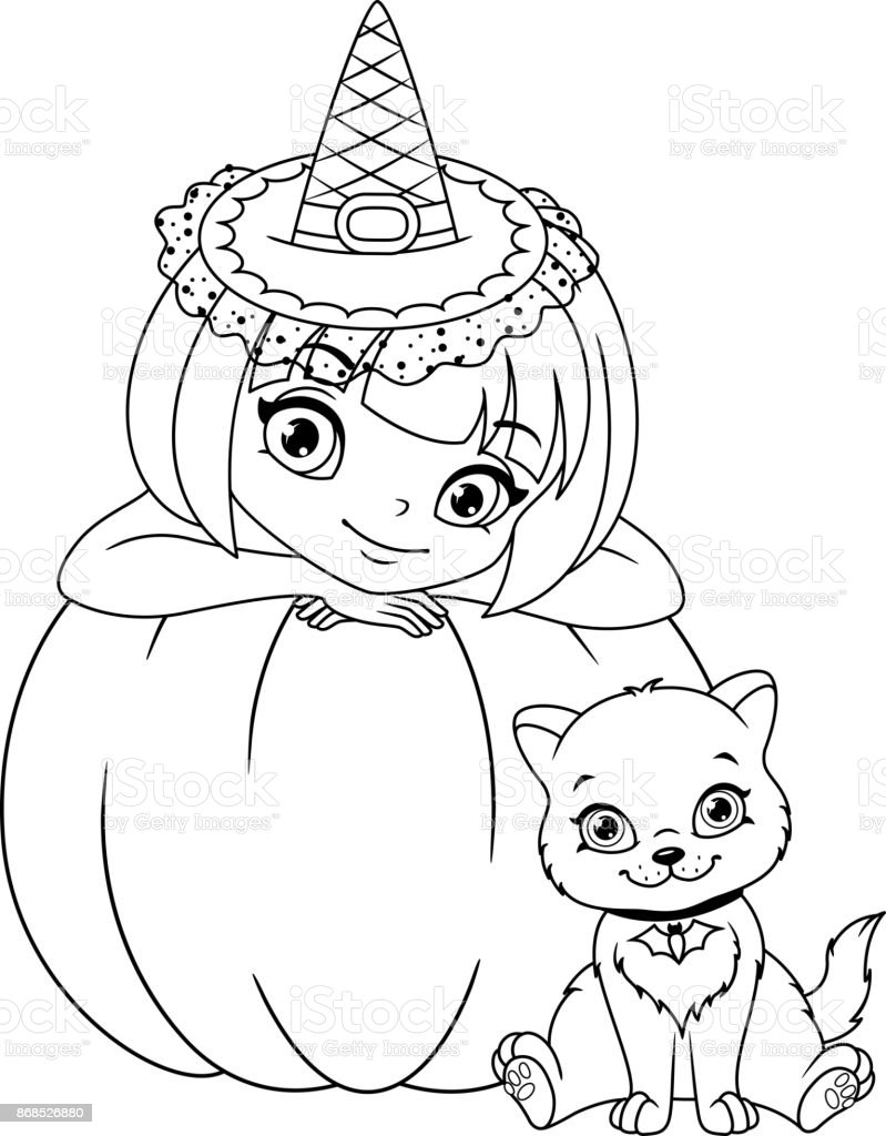 Witch With Kitten Coloring Page Stock Vector Art More Images Of
