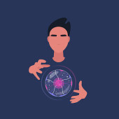 Witchcraft and future prediction, young male fortune teller holding a magical crystal ball, spiritual experience