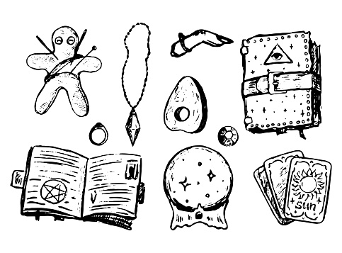 Witchcraft attributes doodles set. Simple vector hand drawn illustrations. Collection of halloween drawings isolated on white. Black contour sketches for design, prints, card, decor, poster, stickers.