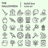 Witchcraft line icon set, Magic symbols set collection or vector sketches. Halloween signs set for computer web, the linear pictogram style package isolated on white background, eps 10