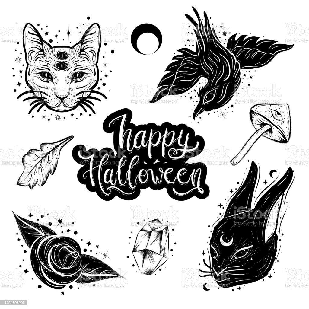 witchcraft magic atributes collection halloween elements set stock
