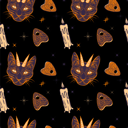 Witchcraft seamless pattern with devil cat, ouija board and candle. Mystic, occult background. Trendy vector illustration.
