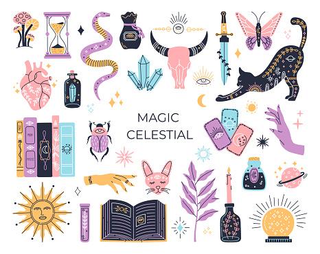 Witchcraft set, mystic magical symbols, hand drawn