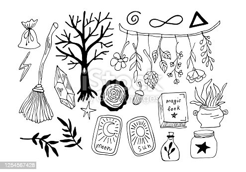 istock Witchcraft symbols - crystal, broom, forest, crystal, cards, leaves, potion,. Vector magic illustrations. Hand drawn doodles sketch magician set. 1254567428