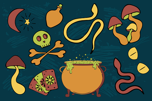 Witchcraft vector sticker pack. Poisonous doodle objects for print design