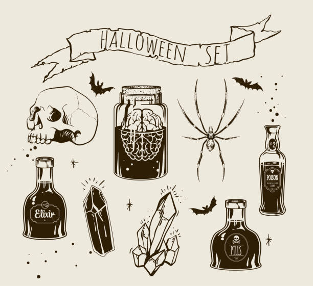 Witchcrafting set of bottles Set of Halloween objects and animals. Hand drawn holiday symbols. Isolated vector illustration.Witchcrafting set of bottles with poison, crystal, skull an jar with brain. Halloween card\poster. Vector illustration engraving style. poisonous stock illustrations
