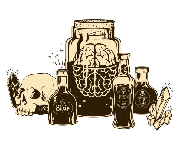 Witchcrafting set of bottles Witchcrafting set of bottles with poison, crystal, skull an jar with brain. Halloween card\poster. Vector illustration engraving style. drawing of a glass liquor flask stock illustrations