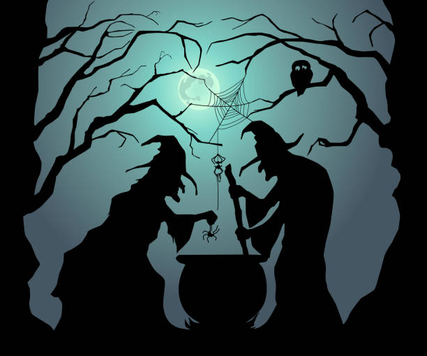 Witches brew a magic potion for Halloween. Happy Halloween. Witches brew a magic potion for Halloween. scary halloween scene silhouettes stock illustrations
