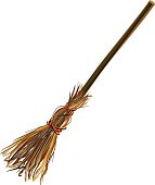 Witches broom stick. Old broom. Halloween accessory object
