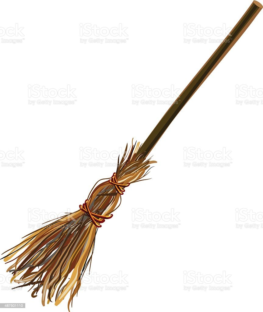 Witches broom stick. Old broom. Halloween accessory object vector art illustration