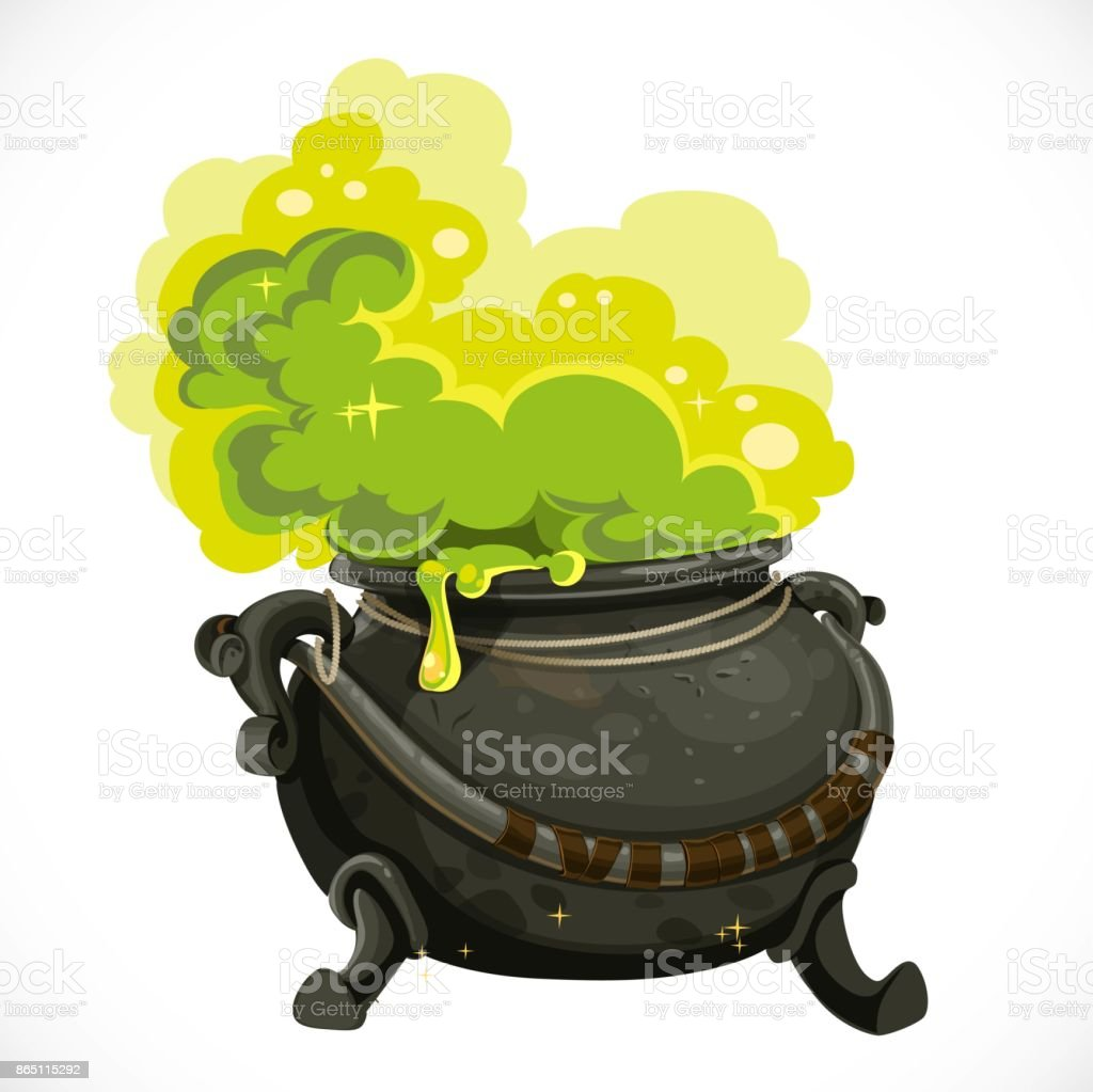 Witches cauldron with green potion and steam isolated on white background vector art illustration