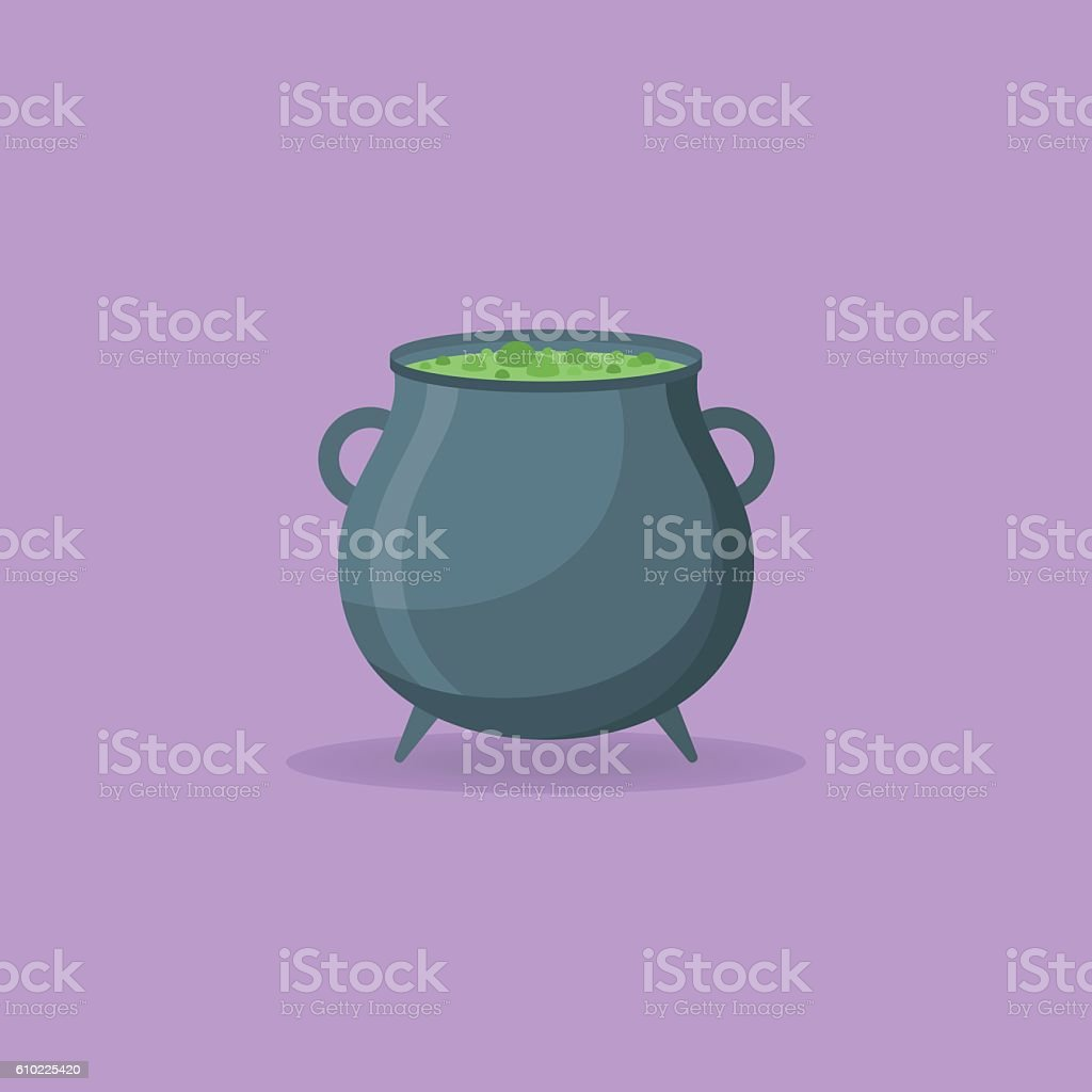 Witches cauldron with green potion vector art illustration