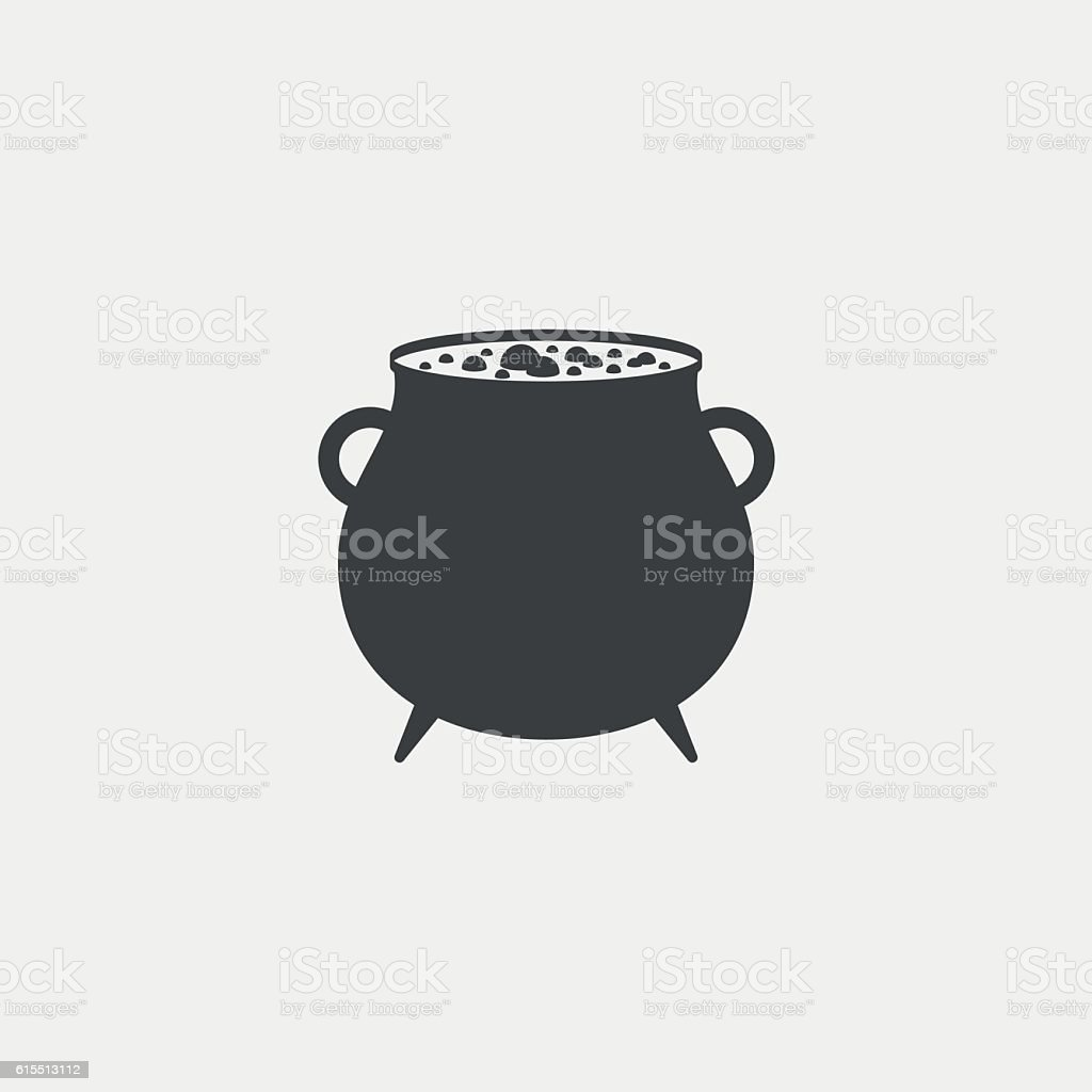 Witches cauldron with potion monochrome icon vector art illustration