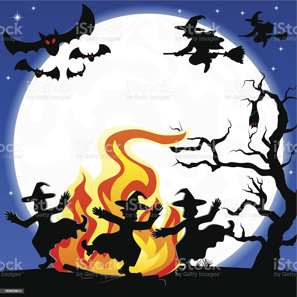 witches dancing around fire at halloween royalty-free witches dancing around fire at halloween stock vector art & more images of autumn