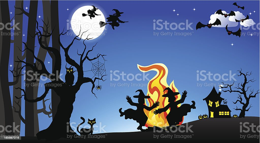 witches dancing around fire at halloween royalty-free stock vector art