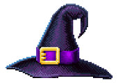 A witches hat in a retro 8 bit arcade video game pixel art style.
