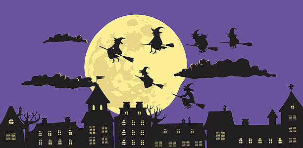 Witches in The Night Witches flying wedge in the night on the full moon background spooky halloween town stock illustrations