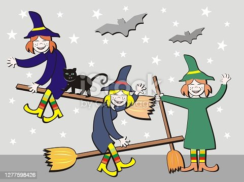 istock Witches on broomsticks , cute vector illustration 1277598426