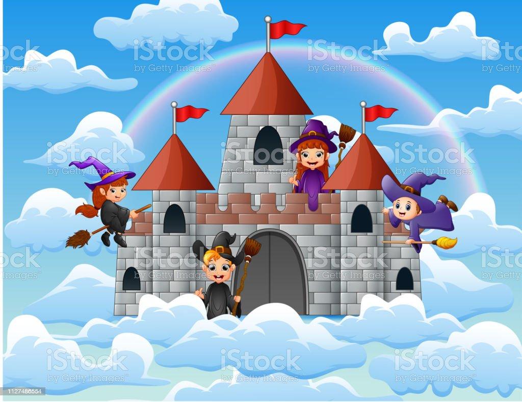 Un Chateau Dans Les Nuages sorcières avec son balai magique volé autour du château sur