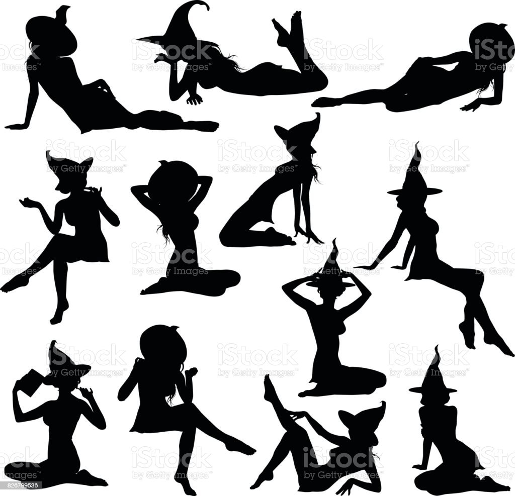 Witches_pin_ups vector art illustration