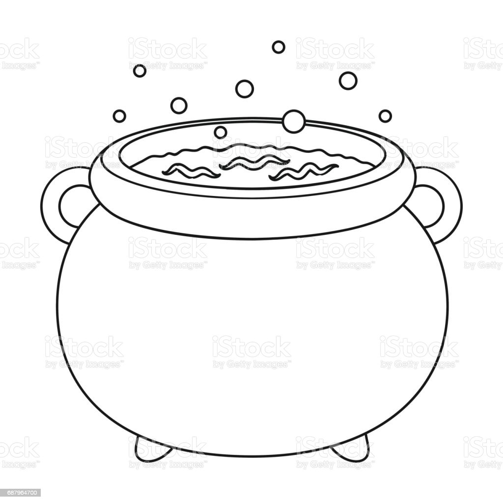Witchs Cauldron Icon In Outline Style Isolated On White ...