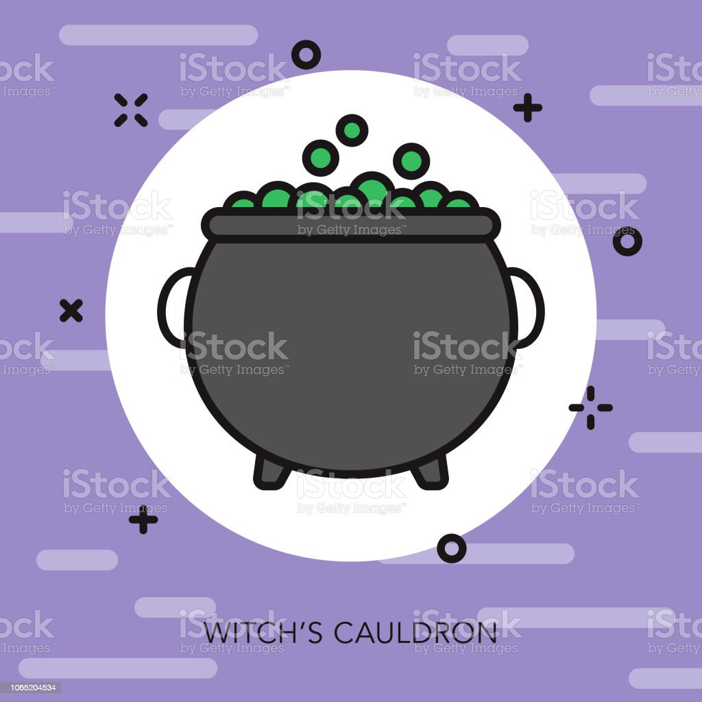 Witch's Cauldron Thin Line Fantasy & RPG Icon vector art illustration