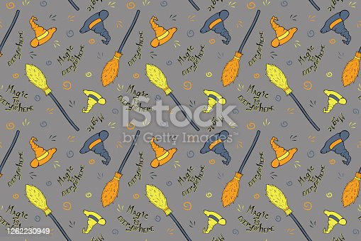 istock Witch's equipment seamless pattern 1262230949