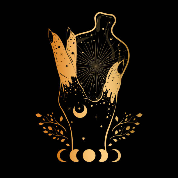 witch's hand holding a bottle with magic potion. alchemy concept. gothic style illustration. - moon tattoos stock illustrations, clip art, cartoons, & icons