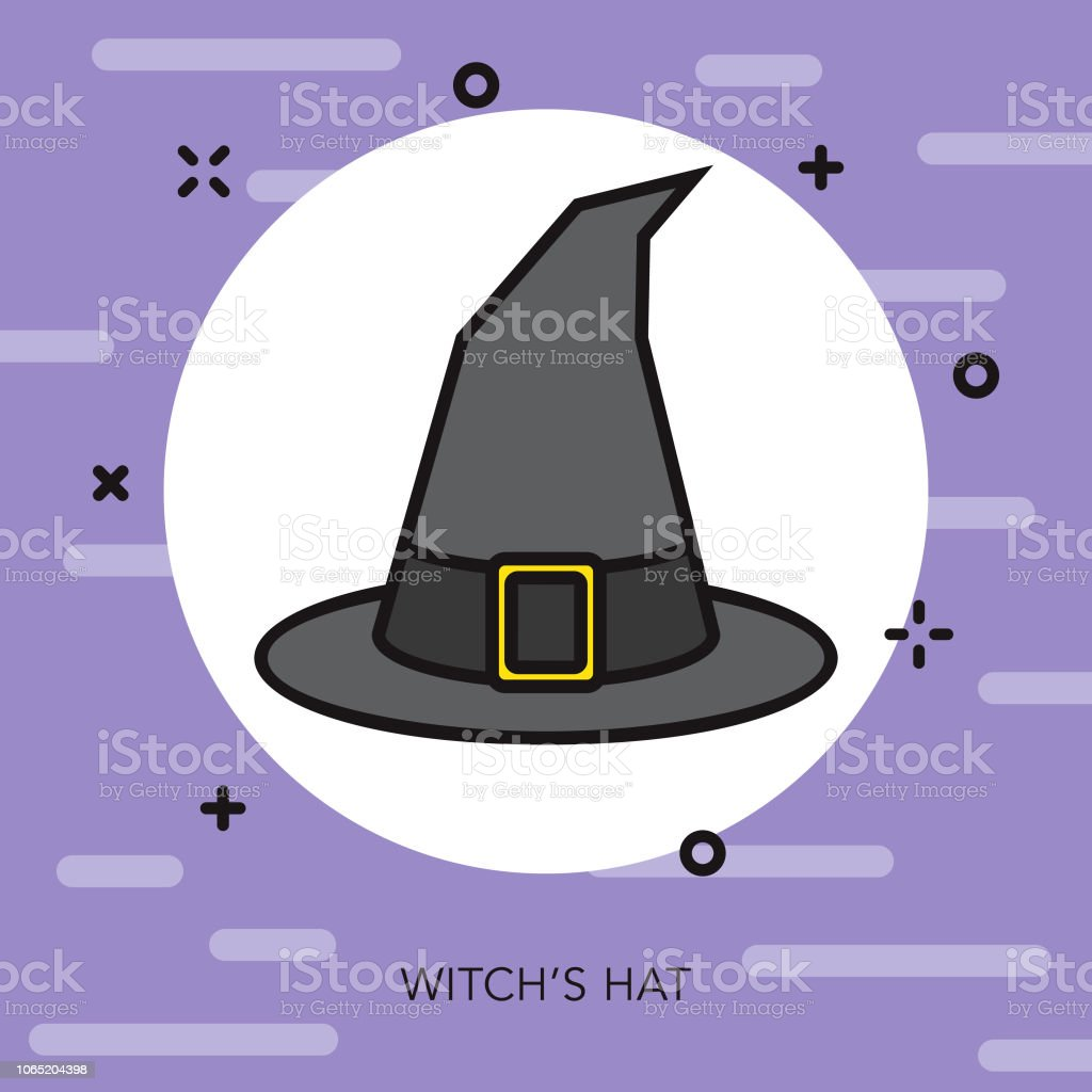 Witch's Hat Thin Line Fantasy & RPG Icon vector art illustration