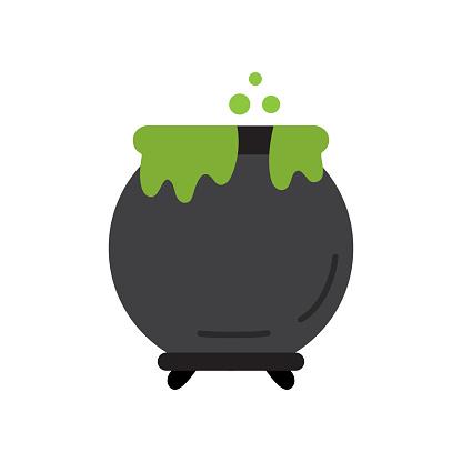 Witch's pot round icon