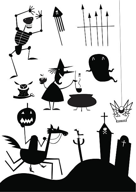 witchy icons vektorkonstillustration