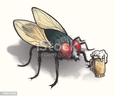 this is a hand drawn image turned to a halftone screen overlapping vector color paths that can be changed at your choice of colors. this bar fly can be used for all kinds of things.
