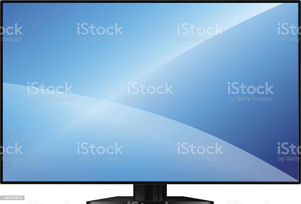 TV with a large blank screen vector art illustration