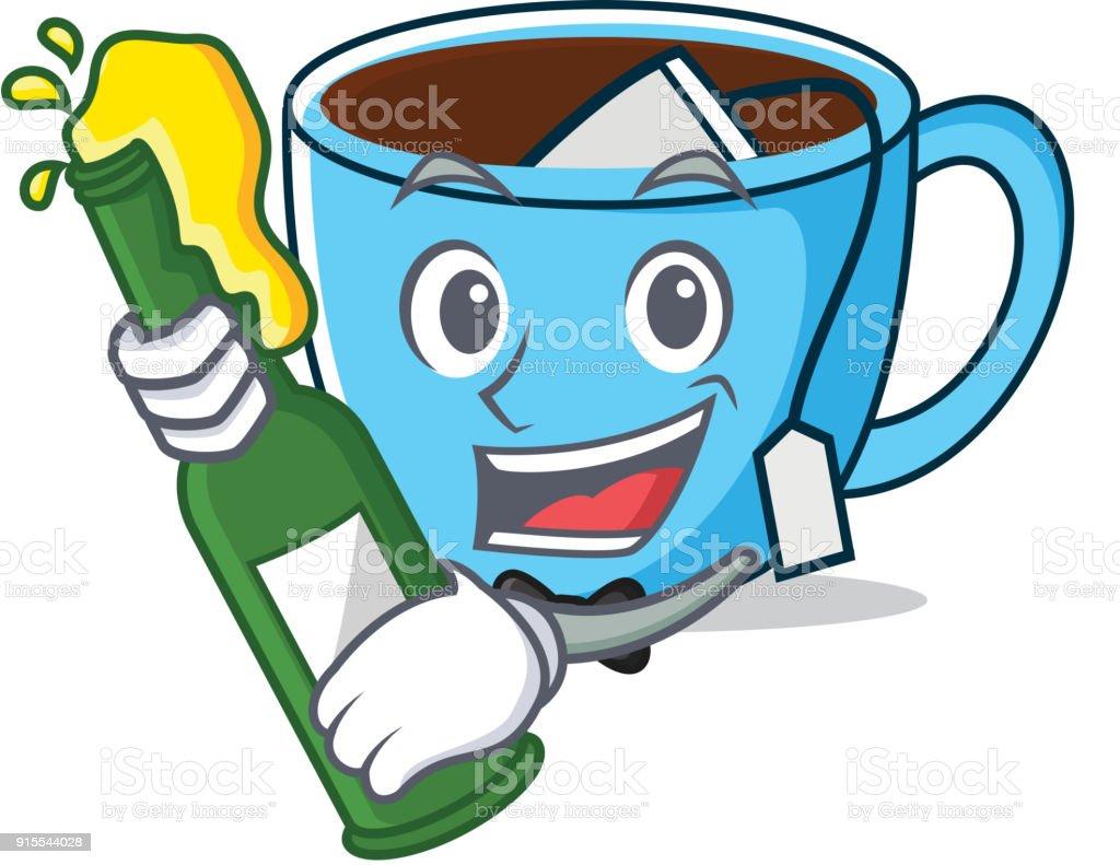 ilustração de com desenho animado mascote de xícara de chá de
