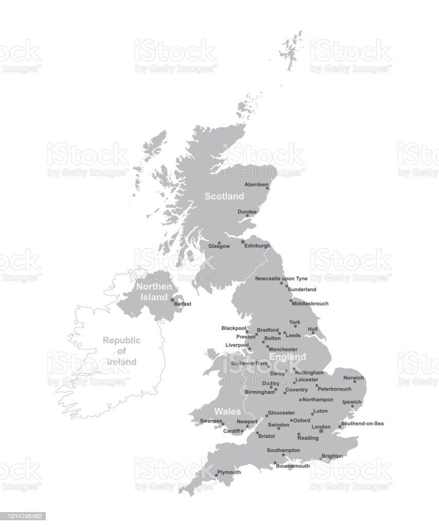 Carte Angleterre Grandes Villes.United Kingdom Carte Avec Les Grandes Villes Uk Carte Avec